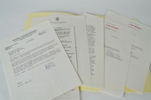 The psychology department histories vary in their form and depth. This file for Clark University contains only correspondence