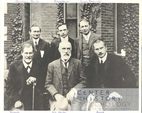 The Psychology Department Histories Collection compliment other CHP collections. For example, this photograph, taken at the Clark Conference in 1909, depicts A.A. Brill, Ernest Jones, and Sandor Ferenczi (back row); Sigmund Freud, G. Stanley Hall, and Carl Jung (front row).]