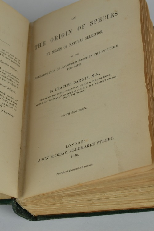 The title page of the CHP's rare 1860 print of On the Origin of Species.