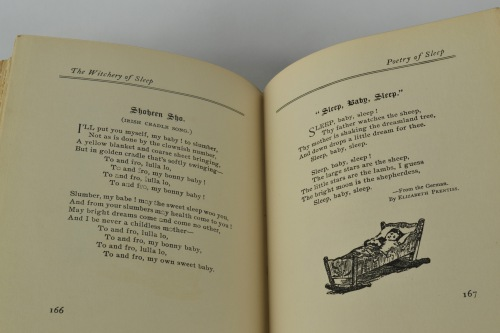 The book includes poetry and sonnets about sleep, including children's lullabies.