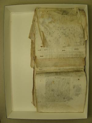 Before: Because the pages had been curled and folded for many years, the conservator also treated the pages so that they lay flat.