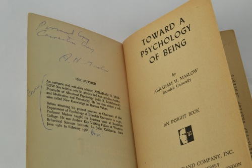 "This copy is signed by Maslow.  He also wrote ""Personal Copy"" and ""Correction Copy"" on the inside cover."