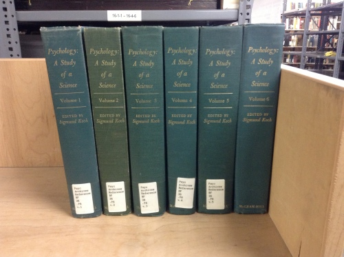 In addition to the archival papers, the CHP houses the six-volume set, Psychology: A Study of a Science, 1959-1963.