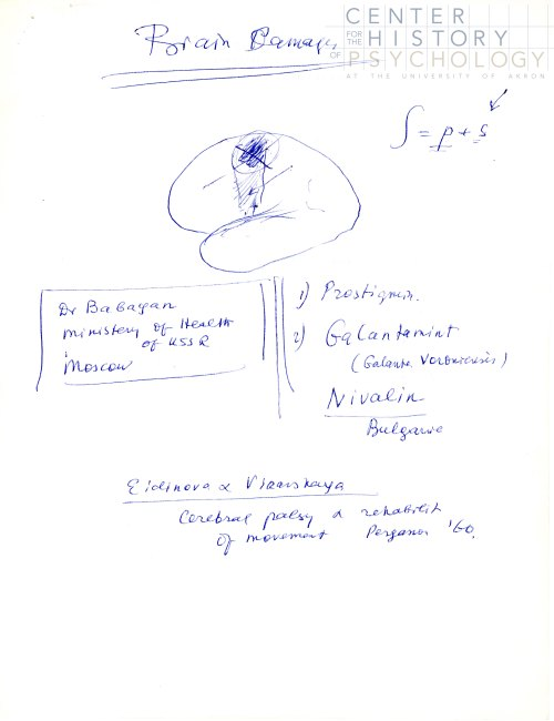 A sketch of the brain by Luria, undated.