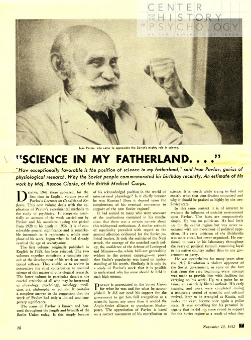 """First page of an article about Ivan Pavlov in """"New Masses""""."""