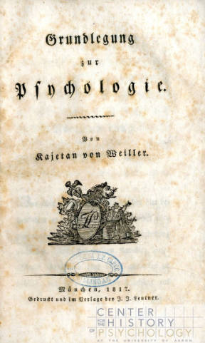 This German language book, Grundlegung zur Psychologie, published in 1817, is one of the titles from the Wozniak Collection of Books.