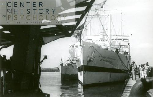 "written on back of photograph: ""AH-13 Benevolence docked Yokahama August 1945"""