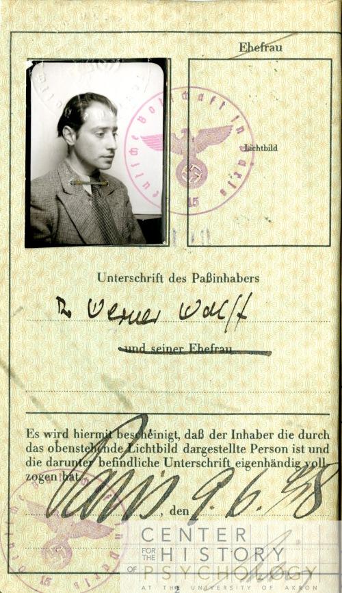 Wolff's German passport. Wolff left Germany in 1933.  Box M4844, Folder 2.
