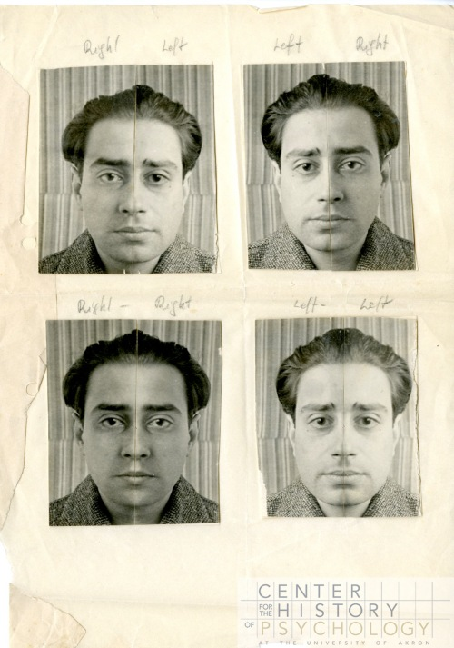 "Wolff studied ""forms of expression (expressions of personality)"", part of which was to take a person's portrait, then split the portrait down the middle and reverse half the face.  The new portrait of the person's ""right"" and ""left"" face was shown to the person, who was asked which face he preferred.  This type of study reached a general audience when it was covered in Life magazine on January 18, 1943."