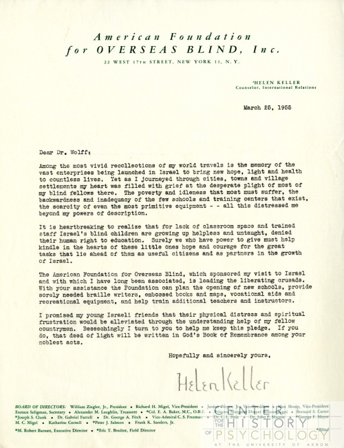 "Wolff placed this 1955 letter from Helen Keller in a folder titled, ""Handwriting"".  One of Wolff's main areas of study was how handwriting and signature relate to one's personality. Box M4857, Folder 4."