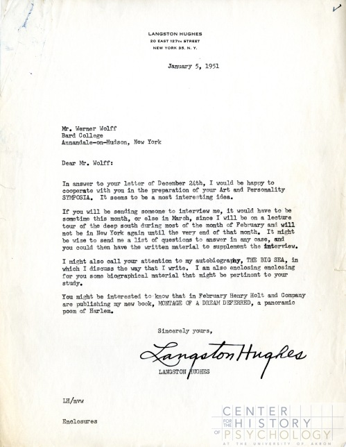 A letter from Langston Hughes to Wolff, 1951. Box M4869, Folder 4.