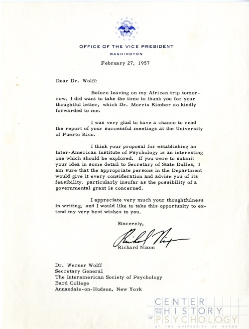 Letter from Vice President Richard Nixon responding to Wolff's proposal for an Inter-American Institute of Psychology, 1957. Box M4898, Folder 2.