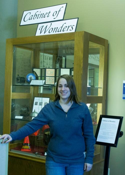 Cori Iannaggi with her Cabinet of Wonder