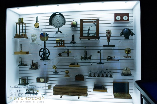 exhibit in Museum of Psychology showcasing artifacts from CCHP collections