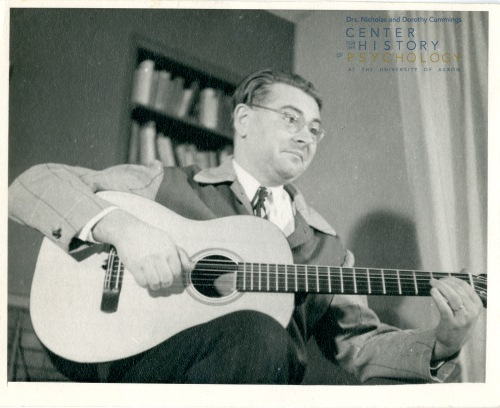 Josef Brožek was a skilled guitar player (1955).  Box M4337, Folder13