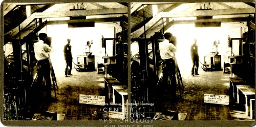 "According to the letter, ""1026 shows the experiment room where my micro-motion study first took place. The floor is cross-sectioned, and the two clocks can be seen half way up on the right hand side of the picture."""