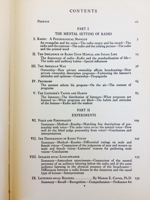 Psychology of Radio (1935), by Hadley Cantril and Gordon Allport. Table of contents.