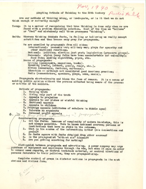 Radio talk on propaganda given by Paul T. Young in 1940. From the Paul T. Young papers.