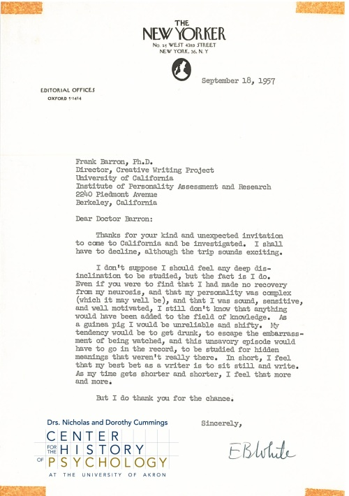 Author E.B. White's response to Frank X. Barron's invitation to participate in a creative writers study (1957). Box M5422, Folder 11