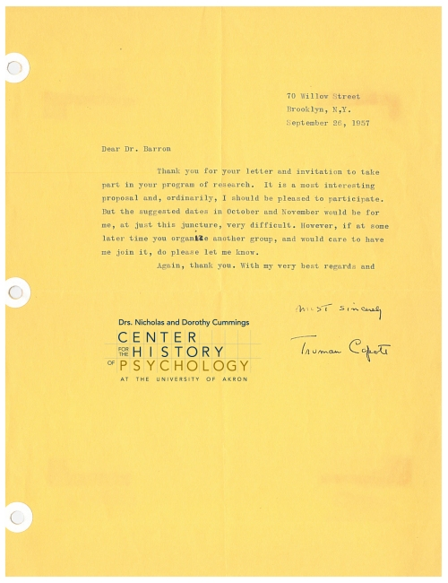 Letter from Truman Capote to Frank X. Barron regarding Capote's participation in a creative writers study, 1957. Box M5422, Folder 7