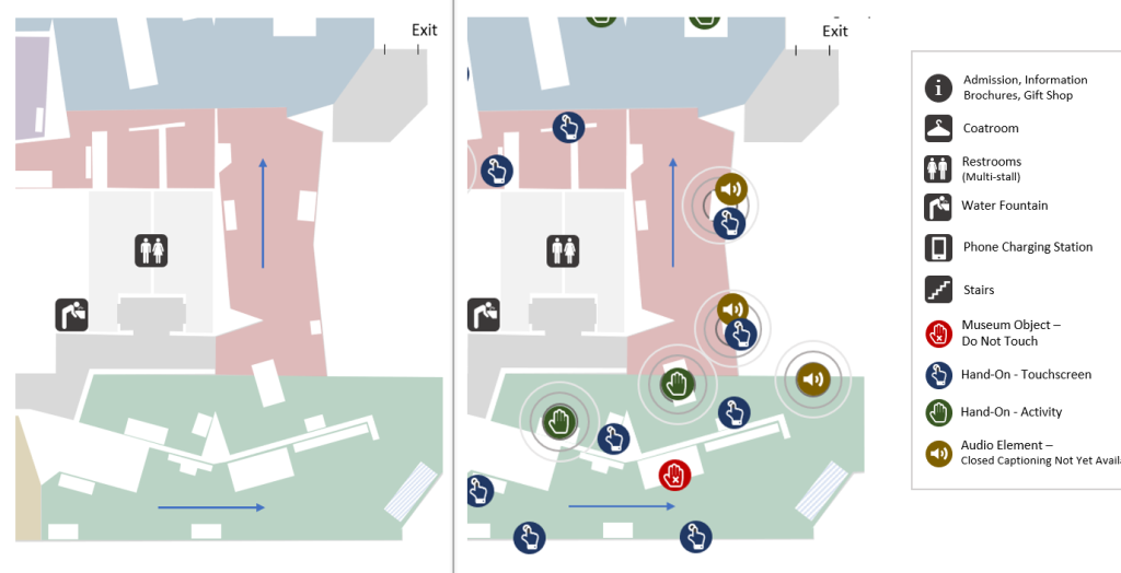 Preview of the National Museum of Psychology maps, side-by-side. Icons on the second map show the location of different types of exhibits.