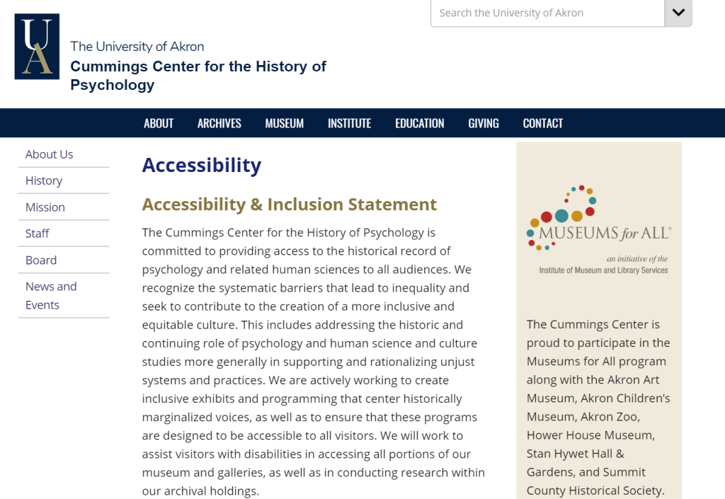 Preview of the CCHP accessibility web page, featuring an Accessibility and Inclusion Statement.