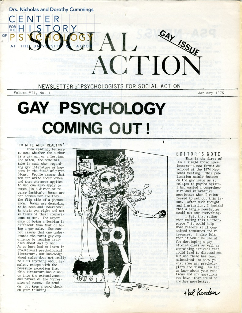 "Cover of the Newsletter of Psychologists for Social Action. Features a cartoon of a skeleton in a large floral hat exiting a closet. Headline: ""Gay Psychology Coming Out!"""