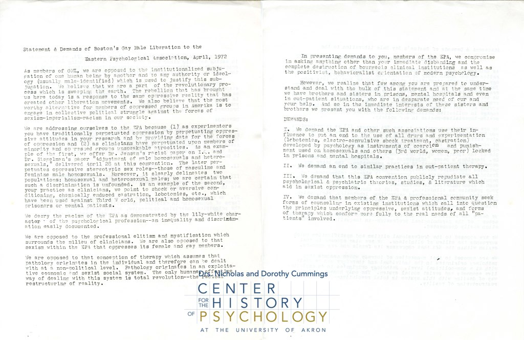Statement & Demands of Boston's Gay Male Liberation to the Eastern Psychological Association, April, 1972
