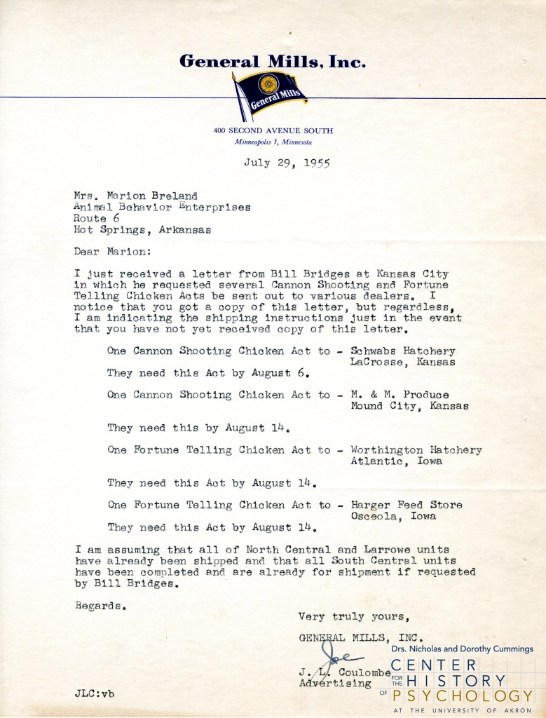 """Scanned letter from J. L. Coulombe of General Mills, Inc. to Marion Breland requesting the shipment of several chicken """"acts"""""""