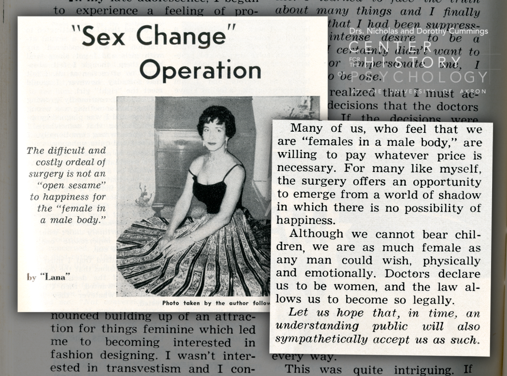 """Article excerpt titled """"'Sex Change' Operation: The difficult and costly ordeal of surgery is not an 'open sesame' to happiness for the 'female in a male body.'"""" by Lana. Photo depicts a transgender woman seated in a long flowing dress. Excerpt text included below."""