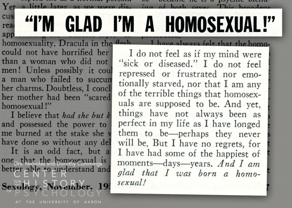 """Article excerpt titled """"I'm Glad I'm a Homosexual!"""" Excerpt text included below."""