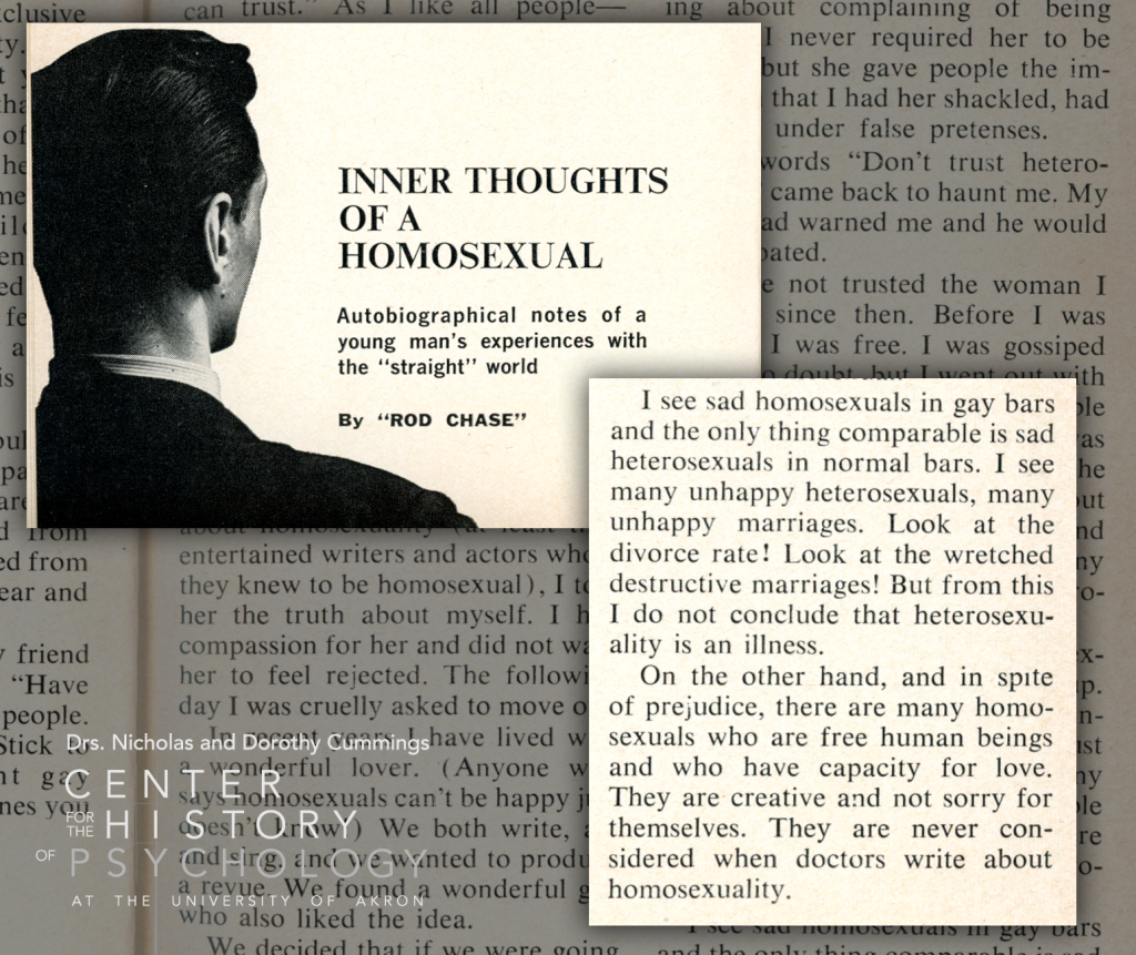 """Article excerpt titled """"Inner Thoughts of a Homosexual: Autobiographical notes of a young man's experiences with the """"straight"""" world"""" by Rod Chase. Excerpt text included below."""