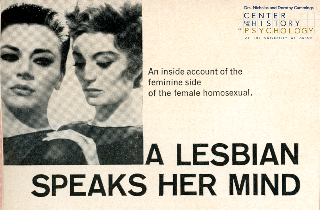 """Article headline titled """"A Lesbian Speaks Her Mind: An inside account of the feminine side of the female homosexual."""" Black and white photograph shows a woman placing a hand on another woman's shoulder."""